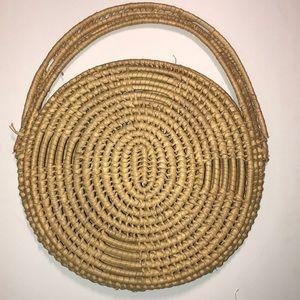 Boho Wicker Basket Purse 1970s
